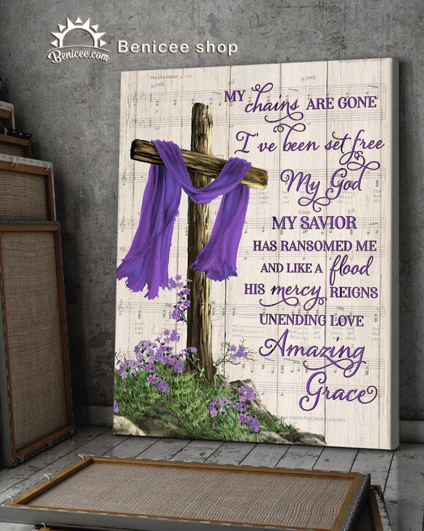 Memorial Gift Canvas - Heaven Cross Amazing Grace Purple Version Top 5 BENICEE-Canvas Prints-Benicee