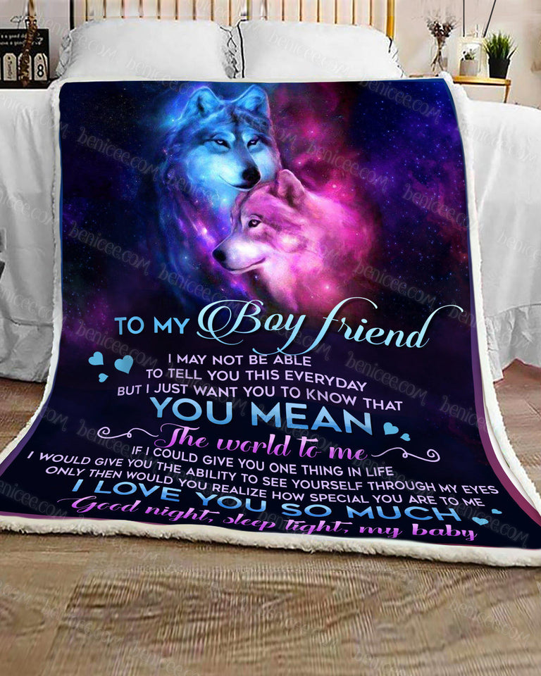 Blanket - Animals - Wolf - To my boyfriend - ILU so much - Benicee
