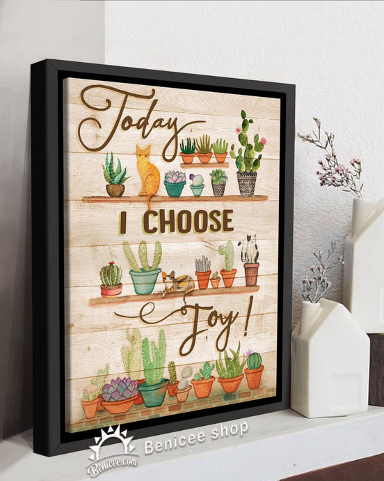 BENICEE Hippie Flower Framed Canvas Art Today I choose Joy Cactus and Cats Top 3 Home Decor-Framed Canvas-Benicee