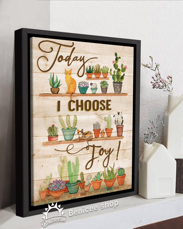 BENICEE Hippie Framed Canvas Art Today I choose Joy Cactus and Cats Top 3 Home Decor-Framed Canvas-Benicee