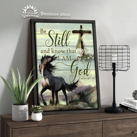 BENICEE Horse Motivation Framed/Wrapped Wall Art Canvas Be Strong And Courageous