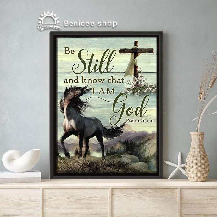 BENICEE Horse Wall Art Framed/Wrapped Canvas Be Still And Know That I'm God-framed canvas-Benicee