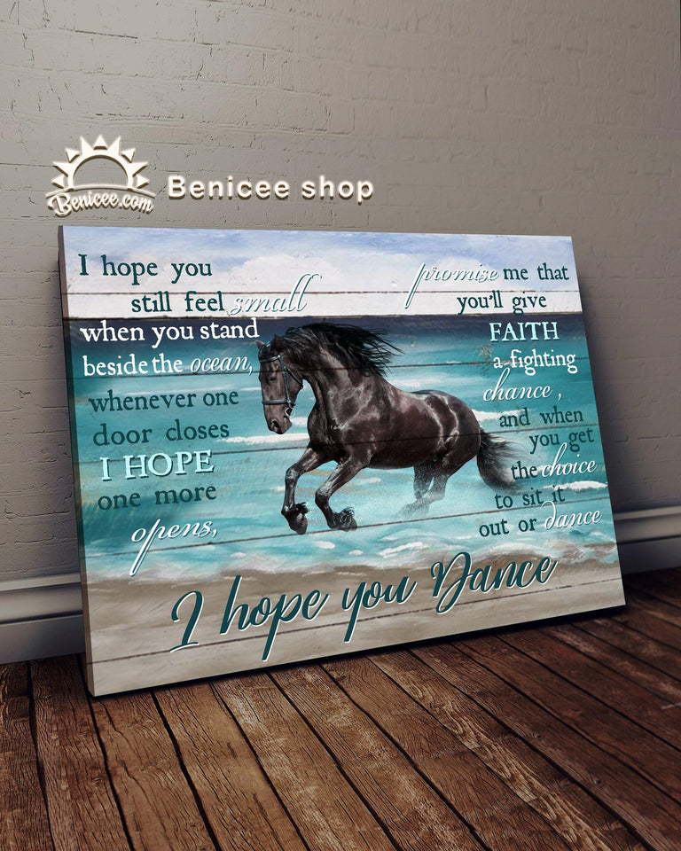 BENICEE Top 1 Horse Canvas Decor - I Hope You Dance Black Horse Version Wall Art Canvas-Canvas Print-Benicee
