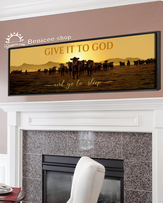 BENICEE Framed/Wrapped Wall Art Canvas 16x48 inches - Give it to God and Go to Sleep Top 3 Home Decor-Canvas-Benicee