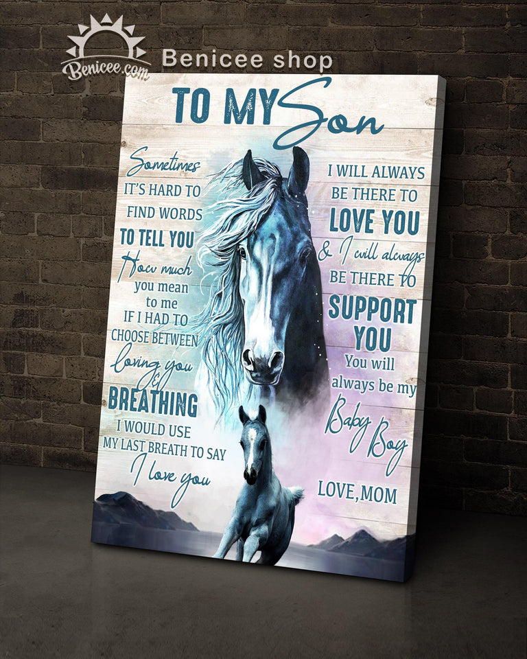 Gift For Kids My Son Canvas Horse Family Top 5 BENICEE-canvas-Benicee