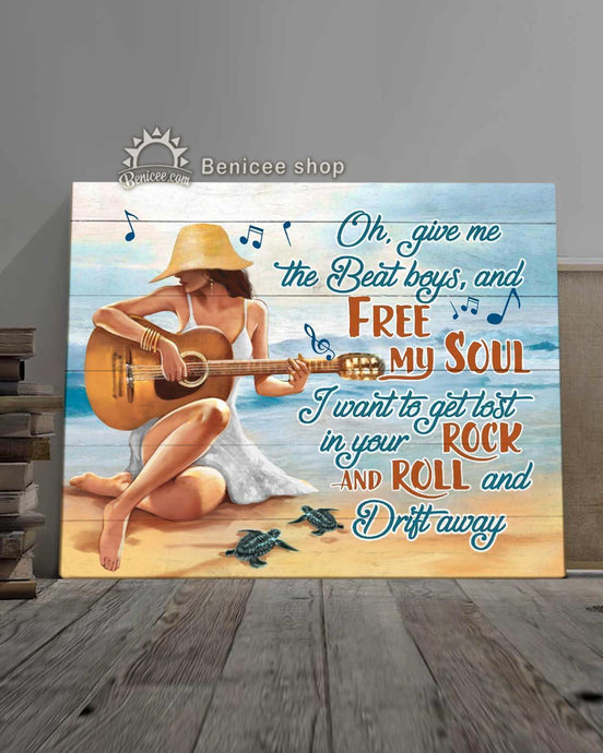 BENICEE Top 5 Ocean Hippie Style Canvas - Free My Soul Girl On The Beach-Canvas Print-Benicee