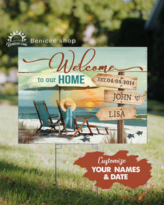 Personalized Anniversary Gift Wall Art Canvas Beach House Yard Sign Sunset Version Top 15 BENICEE-yardsign-Benicee