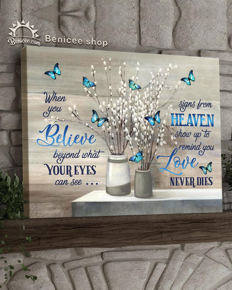 Memorial Gift Canvas - Heaven Love Neve Dies Blue Butterflies Version Top 5 BENICEE-canvas-Benicee