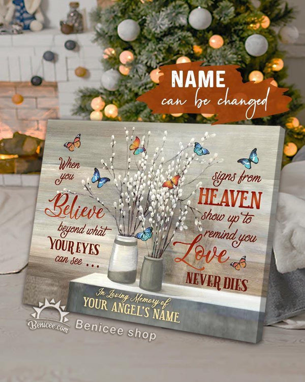 Personalized Memorial Gift Canvas Love Never Dies Colorful Butterflies Version Top 5 BENICEE-canvas-Benicee
