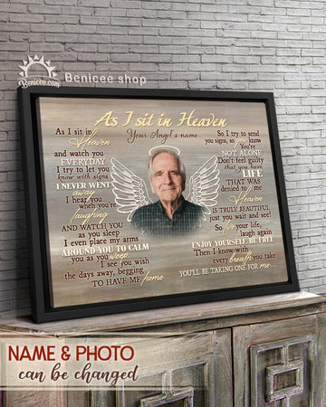 BENICEE  Personalized Memorial Gift Frame Canvas Wall Art As I sit in Heaven Top 3 Home Decor
