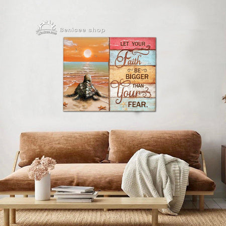 Coastal Wall Art Canvas Let Your Faith Be Bigger Than Your Fear top 10 Turtle Beach Decor BENICEE-Canvas Print-Benicee