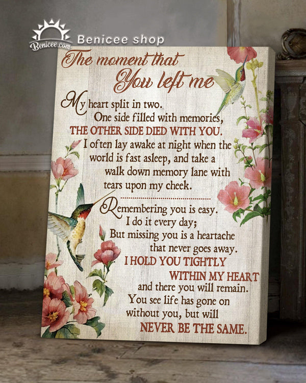 Memorial Gift Canvas - Heaven Hummingbirds The Moment That You Left me Top 5 BENICEE-canvas-Benicee