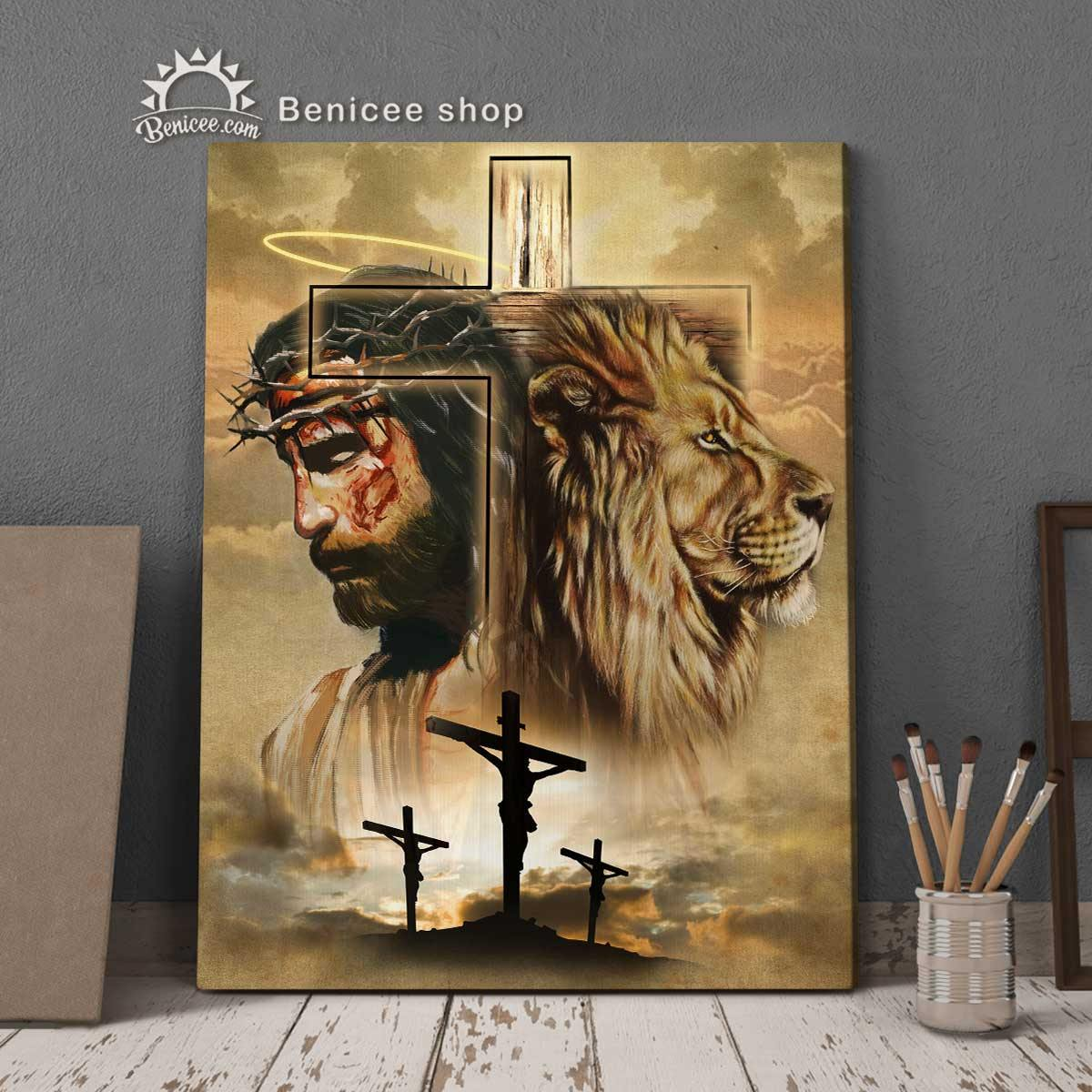 Framed/ Wrapped Faith Wall Art Canvas Faith Art Inspire Jesus And Lion V2 BENICEE SHOP-framed canvas-Benicee
