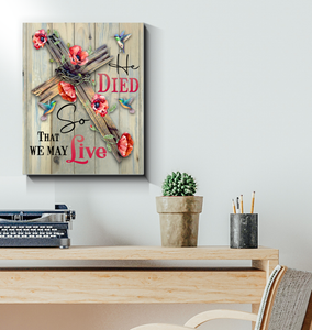BENICEE He Died So He Live Wall Art Canvas, Hummingbird and Poppy Flower Canvas-canvas-Benicee