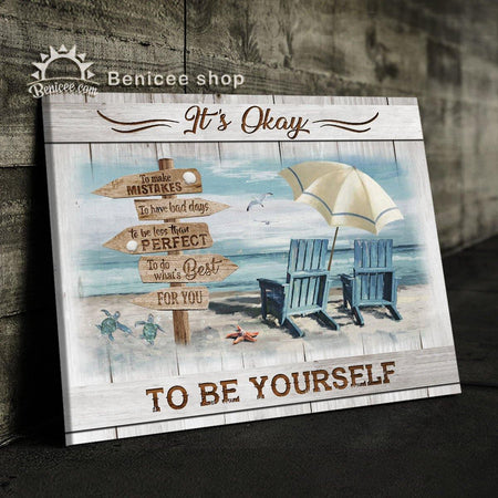 Costal Wall Art Canvas It's Okay To Be Yourself Beach House Decor BENICEE-Canvas Print-Benicee