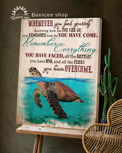BENICEE Top 3 Beach House Decor, Ocean, You have overcome Wall Art Canvas, Turtle Canvas-Canvas Print-Benicee