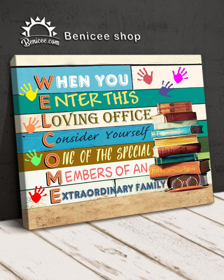 BENICEE Top 10 Office Decor Wall Art Canvas - When you enter this loving office-Canvas Print-Benicee
