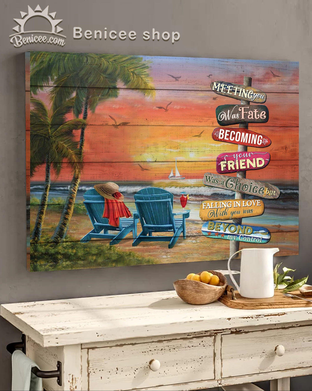 BENICEE Top 10 Beach House Decor - Meeting you was fate becoming Wall Art Canvas-Canvas Print-Benicee
