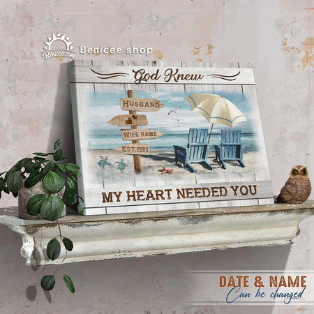 Custom Name Family Wall Art Canvas God Knows My Heart Needed You Beach House Anniversary Gifts BENICEE-Canvas Print-Benicee