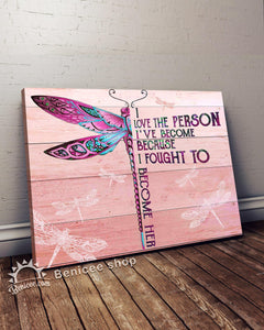 BENICEE Top 5 Hippie Style Wall Art Canvas - I Love The Person I've Become Pink Dragonfly Version-Canvas Print-Benicee
