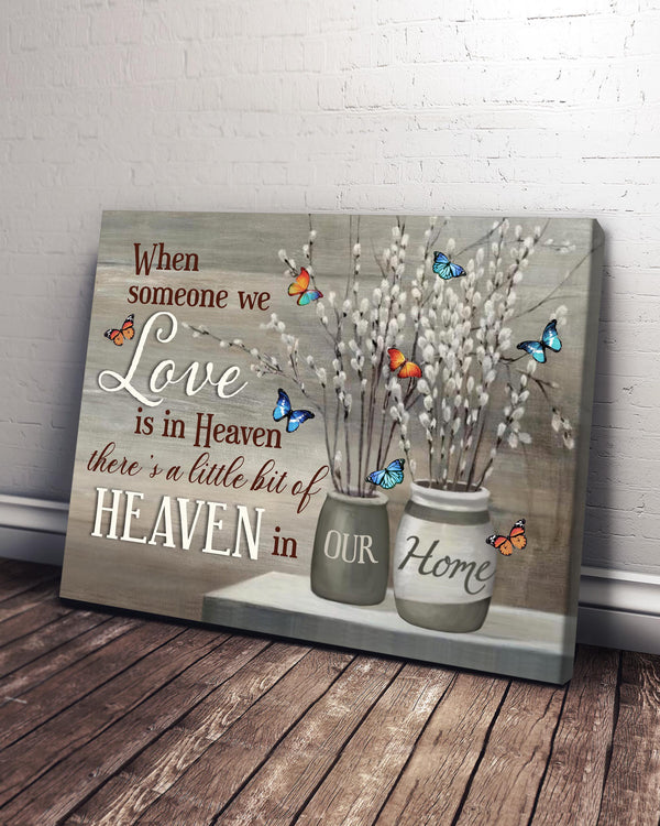 Memorial Gift Canvas - Heaven In Our Home Butterflies & Pussy Willow Top 5 BENICEE-Canvas-Benicee