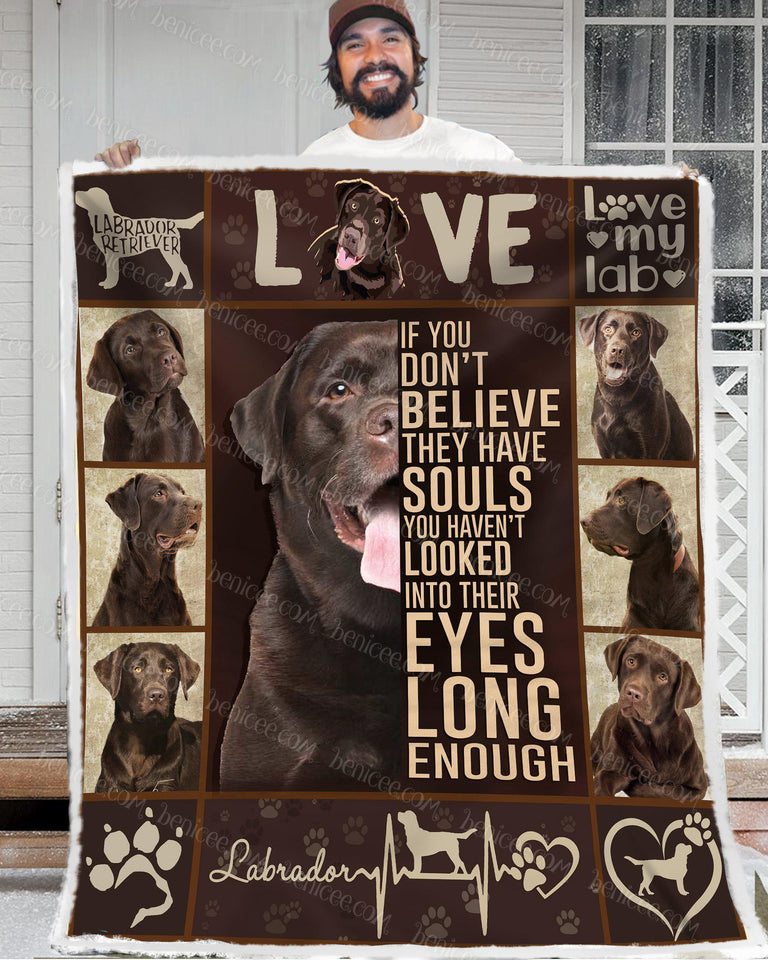 Blanket - Dog - Chocolate Lab - They have souls - Benicee