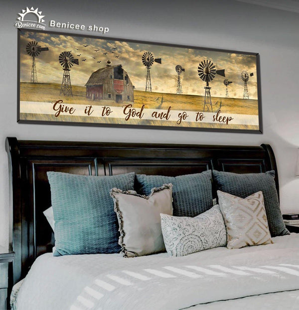 BENICEE Farmhouse Large Canvas Wall Art 16x48 inches - Give it to the god and go to sleep-Large Canvas-Benicee