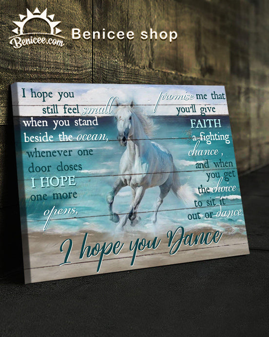 BENICEE Horse I Hope You Dance Wall Art Canvas-Canvas Prints-Benicee