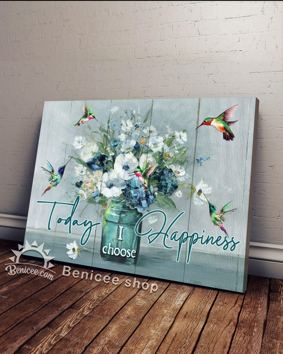 Canvas - Hippie - Today I choose Happiness - Hummingbirds & Flowers - Benicee