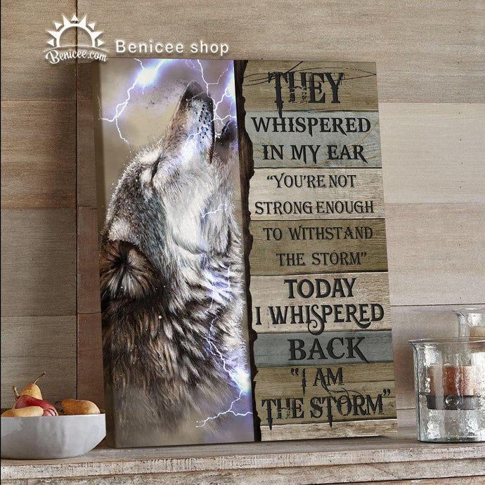 BENICEE Wolf Motivation Framed/Wrapped Wall Art Canvas I Am The Storm Top 3 Home Decor-Framed Canvas, Canvas Print-Benicee