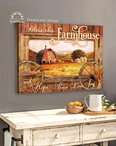 BENICEE Farming Bless this Farmhouse Farmhouse signs, Country Living Wall Art Canvas-Canvas Print-Benicee