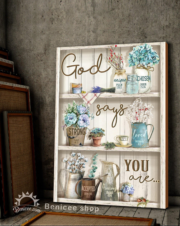 BENICEE Top 3 Hippie Canvas Decor - God says you are Wall Art Canvas Flower vintage version-Canvas Print-Benicee