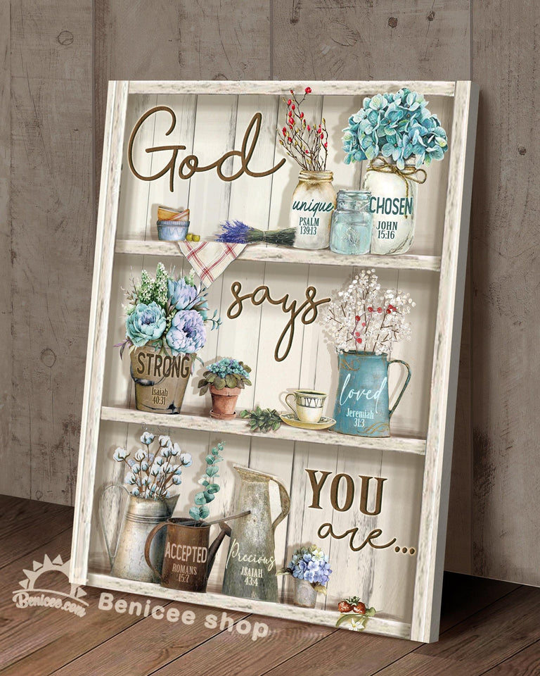 BENICEE Top 3 Hippie Flower Canvas Decor - God says you are Wall Art Canvas Flower vintage version-Canvas Print-Benicee