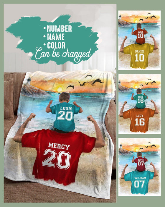 BENICEE Top 5 Gift For Son Custom Names Blanket - Dad & Son-Blankets-Benicee