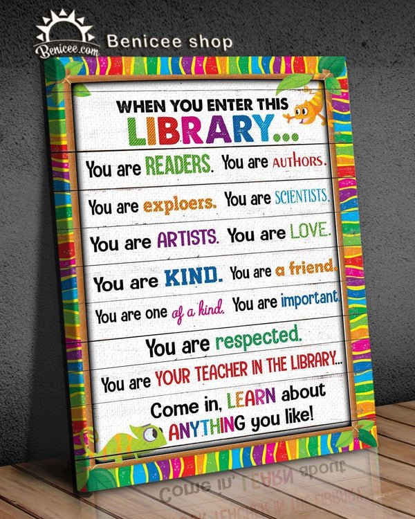 BENICEE Library Come In And Learn OOP Wall Art Canvas-Canvas Print-Benicee