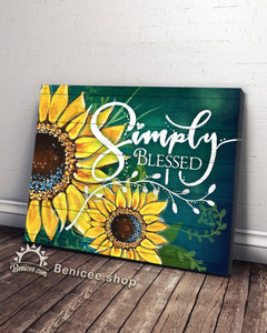 BENICEE Hippie Flower Sunflower Simply Blessed Wall Art Canvas-canvas-Benicee