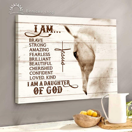 BENICEE Horse Motivation Top 5 Wall Art Canvas I Am A Daughter Of God 1