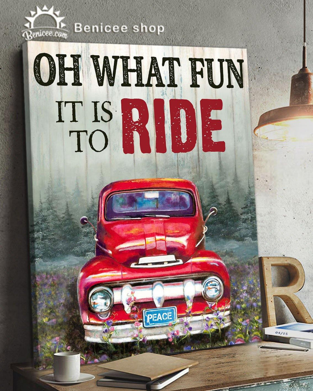 BENICEE Top 3 Farming Chirstmas Wall Art Canvas - Oh what fun It is to ride Red truck-Canvas Print-Benicee