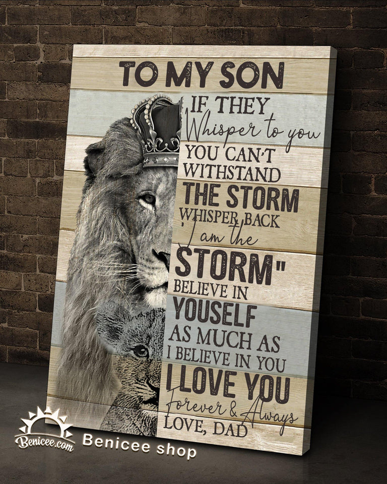 BENICEE Top 15 Gifts For Son From Dad - You Are The Storm Lion Version-Canvas Print-Benicee
