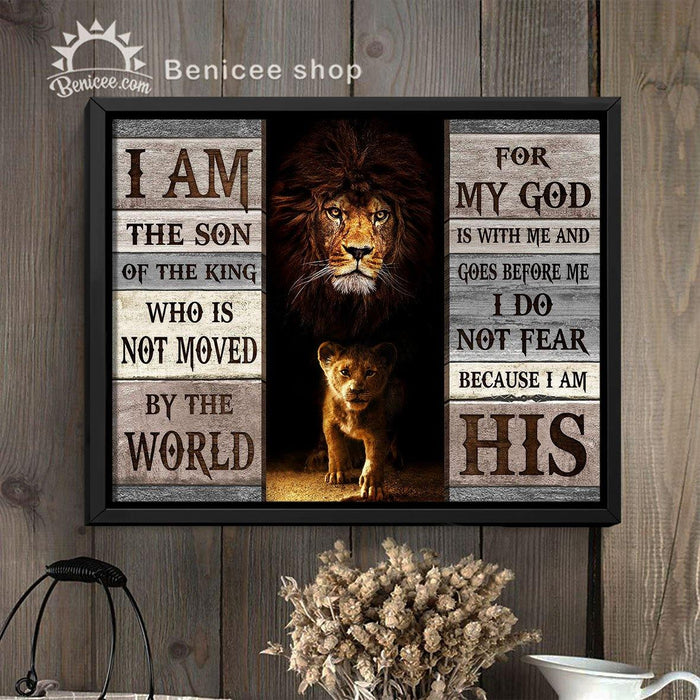 BENICEE Motivation Framed/Wrapped Wall Art Canvas I Am The Son Of The King Lion Ver-Framed Canvas, Canvas Print-Benicee