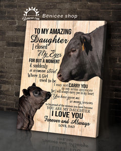 BENICEE Black Angus To My Daughter From Dad Wall Art Canvas-canvas-Benicee