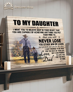 Gift For Kids My Daughter Canvas From Farmer Dad Never Lose Top 10 BENICEE-Canvas Print-Benicee