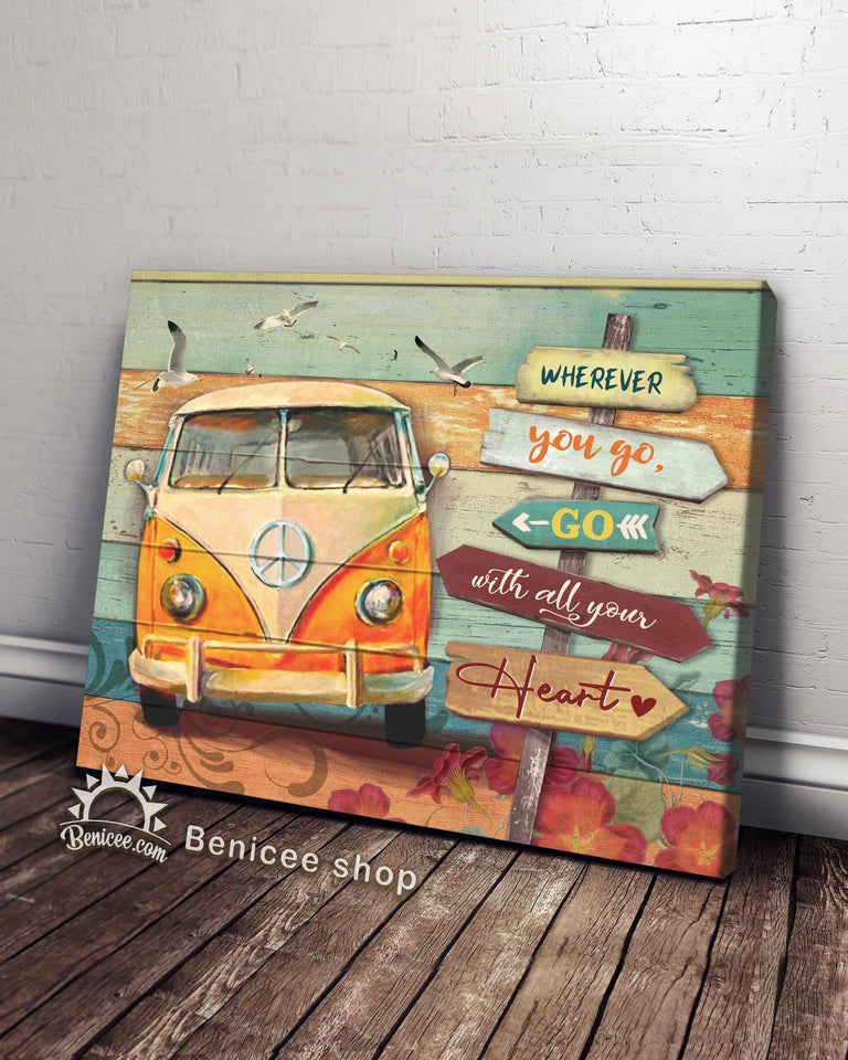 BENICEE Hippie Wherever you go Wall Art Canvas-canvas-Benicee