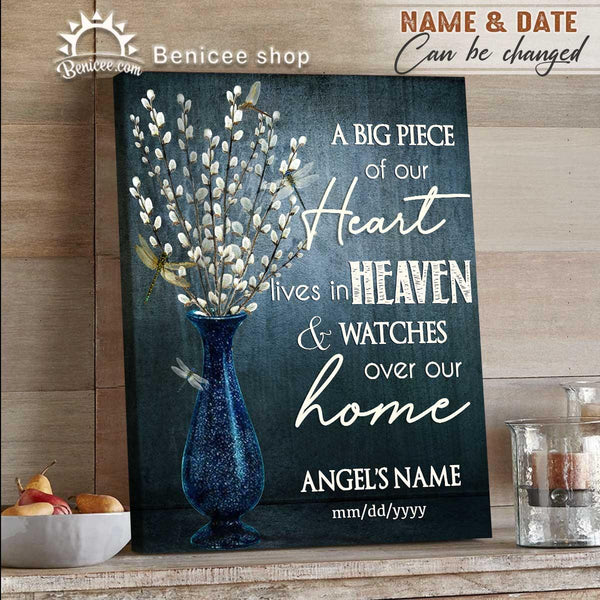BENICEE Personalized Memorial Wall Art Canvas Dragonfly A Big Piece In Our Heart-Framed Canvas, Canvas Print-Benicee