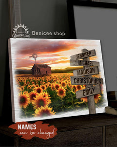 BENICEE Top 3 Country Living Wall Art Canvas - Multi Names CrossRoad Sunflower canvas - Custom Names-Canvas Print-Benicee