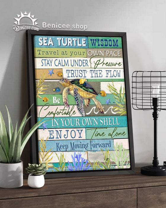 BENICEE Turtle Framed Canvas Ocean Sea Turtle Wisdom Wall Art, Beach House Canvas