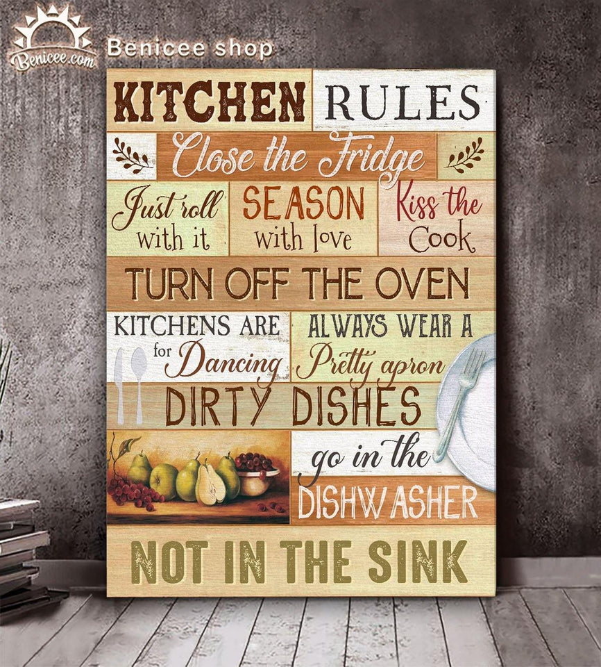 BENICEE Top 10 Kitchen Room Wall Art Canvas - Kitchen rules close the fridge-Canvas Print-Benicee