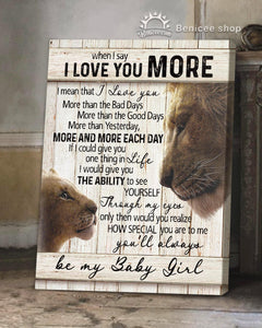 BENICEE Top 5 Daughter Gift Wall Art Canvas - I Love You More Lion Version-Canvas Print-Benicee