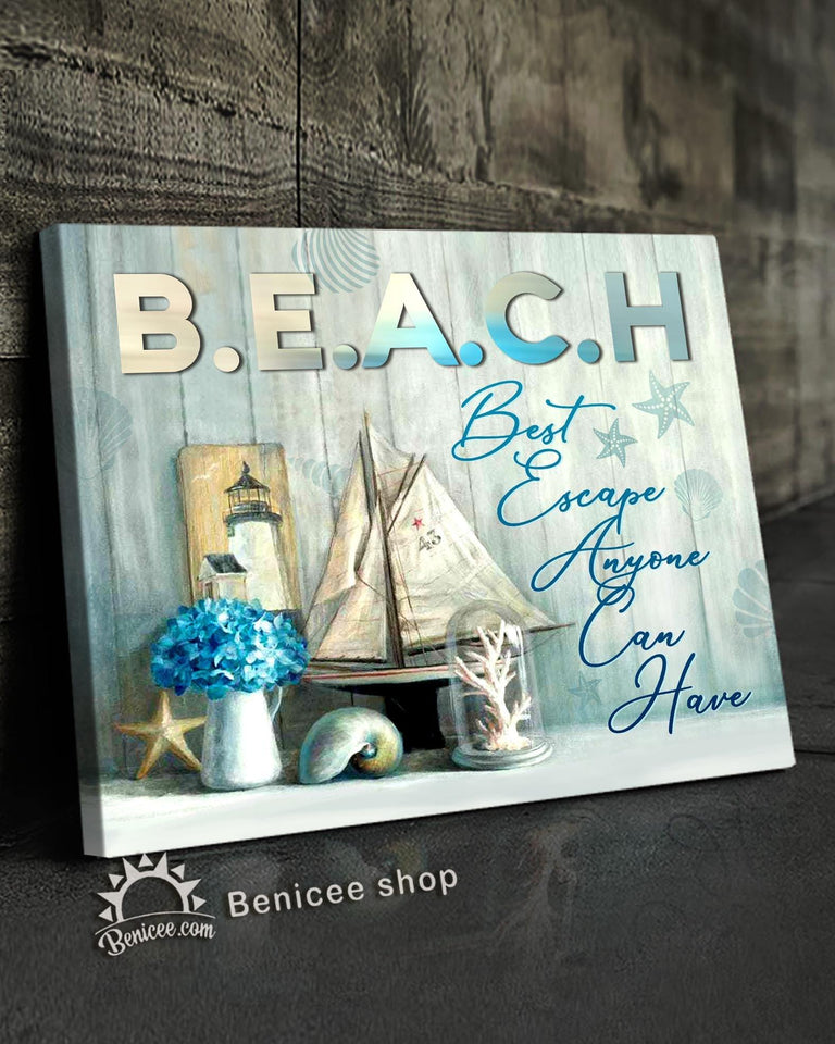 BENICEE Ocean Beach best escape Wall Art Canvas-Canvas Print-Benicee