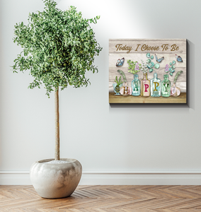 BENICEE Boho Style Decoration Wall Art Canvas - Today I Choose To Be Happy Flowers-Canvas Print-Benicee